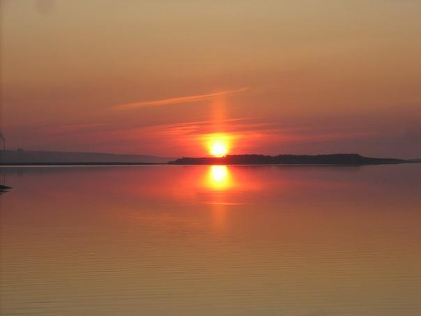закат на реке Лене