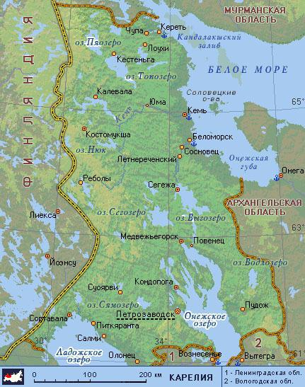 Карелия карта