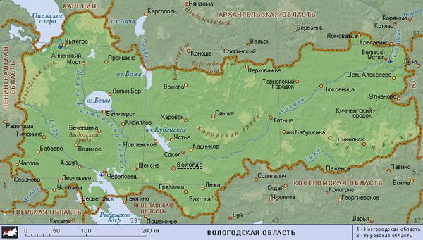 вологодская область карта