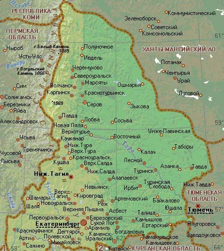 свердловская область карта