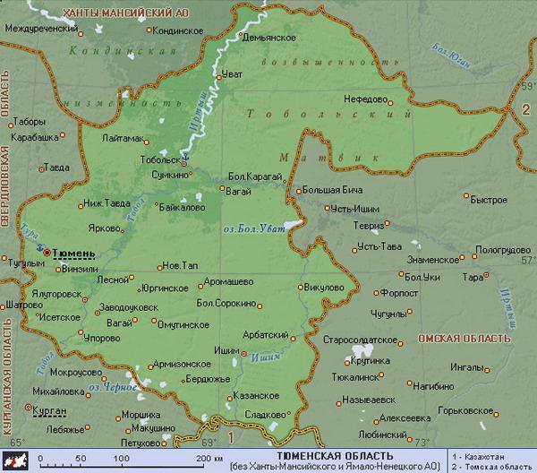 тюменская область карта