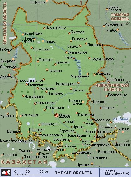 омская область карта