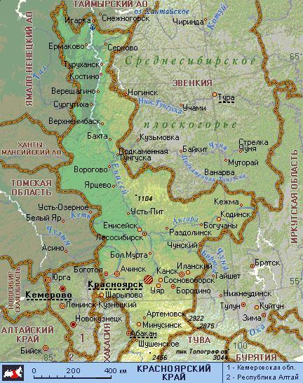 красноярский край карта