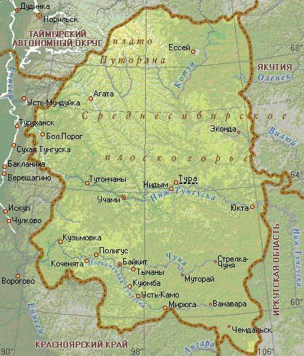 эвенкия карта