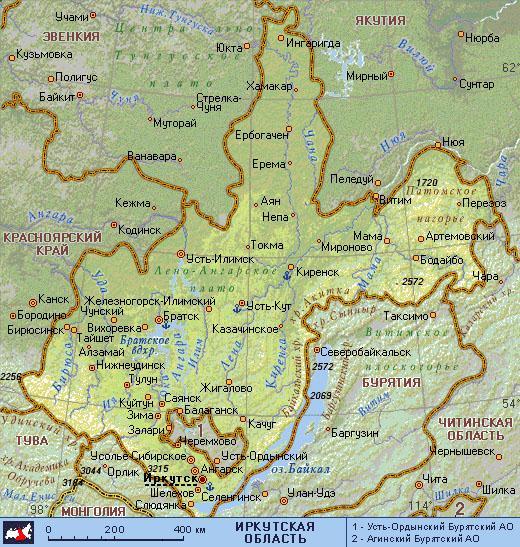 иркутская область карта