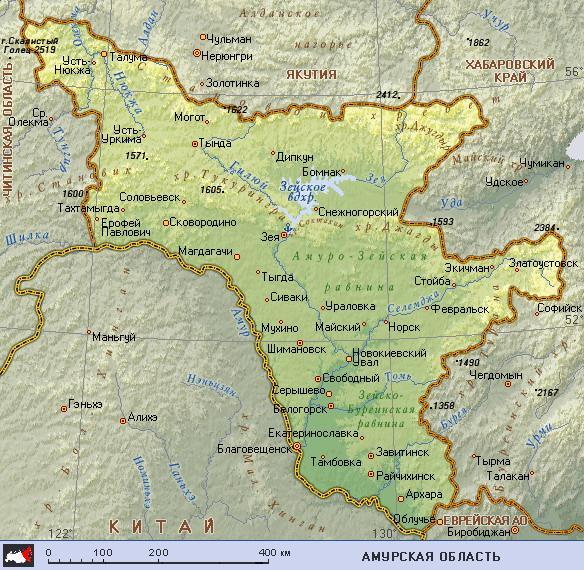 амурская область карта