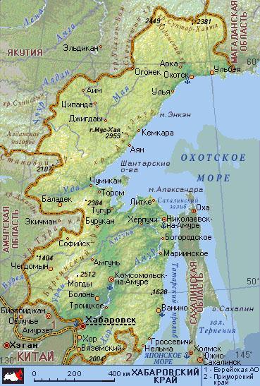 хабаровский край карта